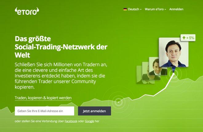Die neue Startseite von eToro Deutschland