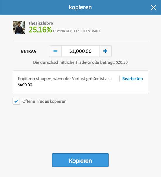 Einen Trader bei eToro kopieren